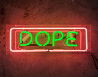 Neon Sign DOPE in Acrylic Box