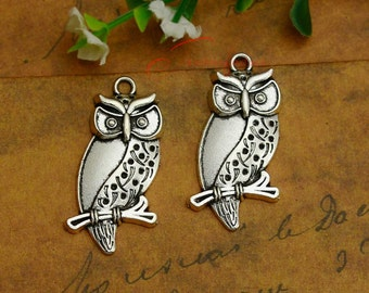 5PCS--40x21mm ,Owl Charms, Antique Silver hollow owl Charm pendant, DIY supplies,Jewelry Making