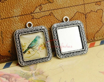 10pcs--Handmade Antique Silver Square Cameo Cabochon Base Setting Charm Pendant, inner 20x20mm FA00565-02