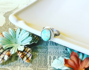 American Mine Turquoise Ring - Stacking Ring - Sterling Silver