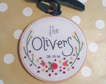 5 inch personalised wedding gift embroidery hoop art