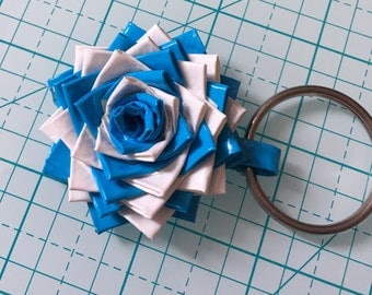 Duct Tape Flower Keychain (Sky Blue and White)