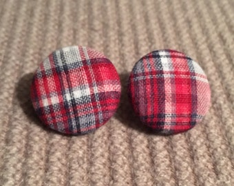 plaid red white and blue earrings