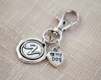 Dog initial keychain, FREE SHIPPING, dog lover gift,  pet keychain, personalised keyring.