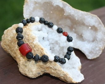 Red, White and Black Stretch Bracelet