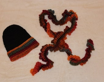 Crochet Hat and Scarf, Autumn Hat and Scarf, Black and Orange Hat and Scarf, Mystic Hat and Scarf