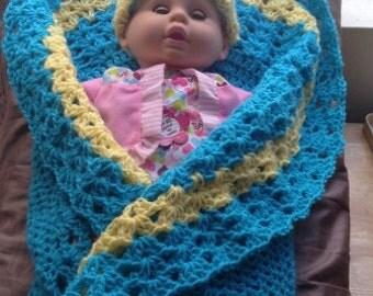 2 tone round baby blanket