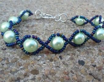 Unique Sea Foam Mint Green Round Glass Beads & Metallic Blue Mixed Bead Bracelet/Anniversary/Prom/Gift Idea/Handmade/Accessory