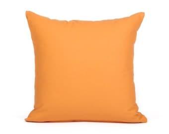 "SALE) 16""X16"" Solid Tangerine Orange Cushion / Throw Pillow Cover"
