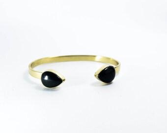 Snake Bracelet in Brass with Onyx stone