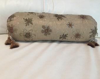 Hand embroidered organza silk zardozi bolster pillow