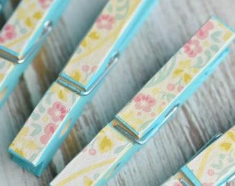Decorative Clothes Pins (Blue Floral)