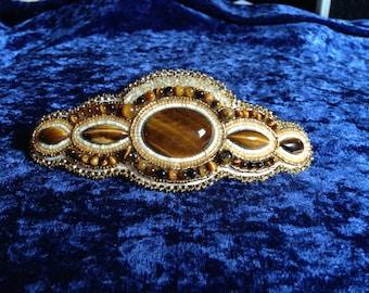 Golden tiger eye beaded barrette