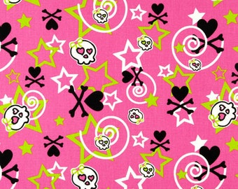 2 yards Premier Prints Stars & Bones Candy Pink-Black
