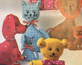 Vintage Simplicity 9098 Children's Stuffed Animal Pattern Dog Cat Bunny Bear Lion