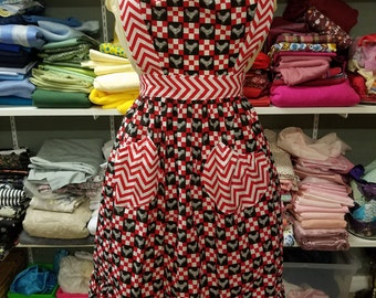 Red and black apron