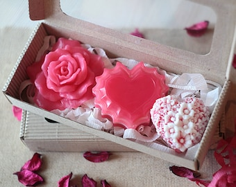 Handmade Heart and Pink Rose Soap Set, Valentines Day Gift Idea For Her, Gift For Mother, Gift For Her, Girlfriend Gift, Mothers Day Gift