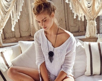 boho peyote medicine pouch necklace