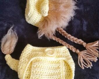Crochet lion photo prop
