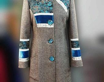 Coat gray-blue chevron