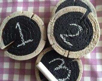 Educational Chalkboard Wooden Discs