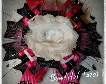 Black and Hot pink pinwheel hair bow