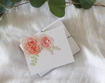 Watercolor Peach Rose Card Set