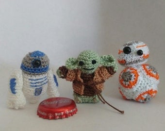 Star Wars R2D2, C3PO, Yoda miniture collectables crochet