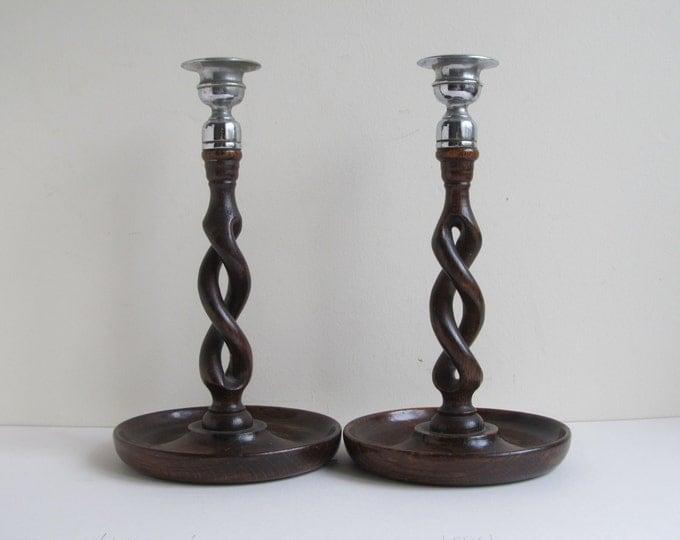 "Antique wooden candlesticks, 10"" oak open barley twist candle sticks, wooden candle holders, rustic English home decor lighting solution"