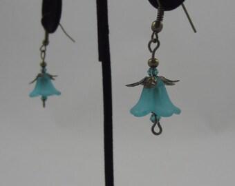 Blue Tulip Dangling Earrings