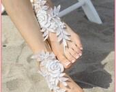 victorian lace flowered wedding barefoot sandals - white, black, pink, ivory, champagne - beach wedding sandal - bridesmaid gift idea