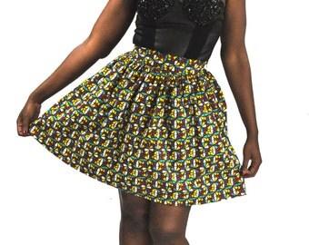 Jupe wax ankara africain femme à imprimé multicolore