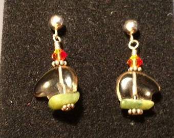 "Smokey Quartz Zuni Bear Adventurine and Swarovski Crystal Sterling Silver Stuf Hand Made ""Earth Bear"" Earrings"
