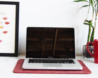 Distressed Red Leather Desk Pad