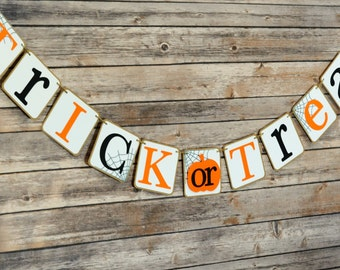 Trick or Treat Banner, Halloween Banner, Trick or Treat, Halloween Party, Birthday Party, Photo Prop, Halloween Decors, Party Decors