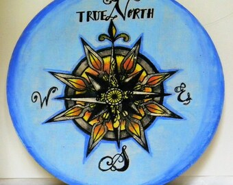 Compass, Mixed media wall art, Acrylic painting on wood, True North, Compass painting, Neotraditional, By Brie Elaine Artistry