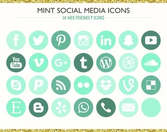 560 Social Media Icons! Mint - PNG files- Digital Download- Blog/Wordpress/Web/Email Friendly