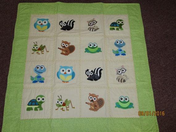Wide Eyed Animals Baby Quilt - Boy, Machine Embroidered, Animal Quilt, Handmade Baby Quilt
