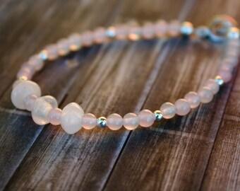 Rose Quartz Beaded Bracelet, January Birthstone Beaded Bracelet, Sterling Silver Bracelet, January Birthstone Bracelet, Stacking Bracelet,