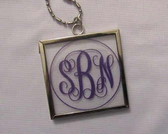 Personalized Monogram on Glass Necklace