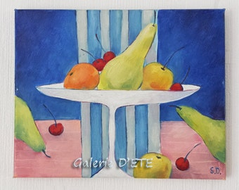 Dead nature 'Fruit'. Original oil painting.  Pears, apples, cherries, mandarin