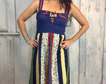 Vintage Cotton Prairie Dress// Cotton Patchwork 70s Dress// Bohemian Cotton Dress// Hippie Boho Dress