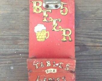 Antique/vintage wood beer opener from West Virginia bar