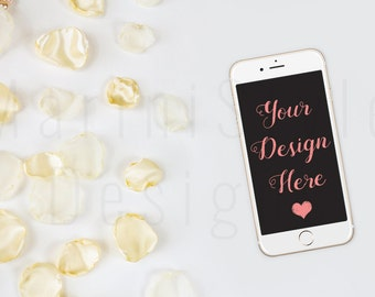 iPhone Mockup, White Desk, Petals, Feminine Styled Stock Photography, Stock image, Flat lay, iPhone Stock Photo, Feminine Mock up, 91
