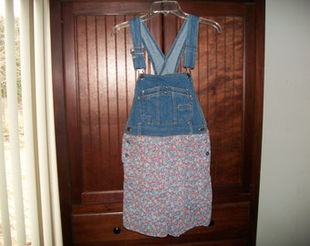 Vintage Bib Overall Denim Romper Size 7/8