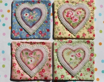 Shabby Chic Set Of Four Fabric Coasters