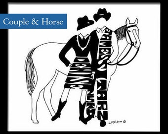 Personalized Silhouette Western Couple with Horse