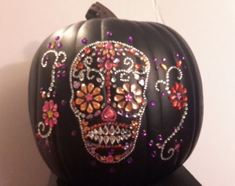 10 inch black Funkins carvable artificial pumpkin all dressed up and ready to go straight to your door!