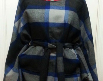 Grey and blue plaid poncho vest
