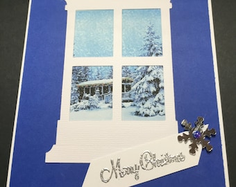 Christmas Card, Merry Christmas, Handmade Christmas Card, Handmade Paper Greeting Card,